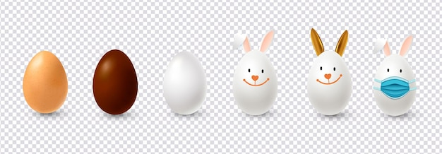 Realistic easter eggs in the form of rabbits.illustration