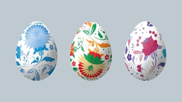 Realistic easter eggs with petrikov painting. petrikovskaya painting.