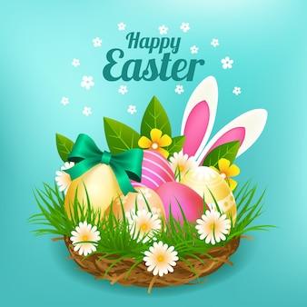 Реалистичная пасхальная иллюстрация с яйцами и кроличьими ушками