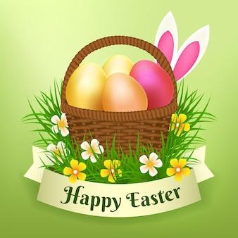 Реалистичная пасхальная иллюстрация с яйцами в корзине