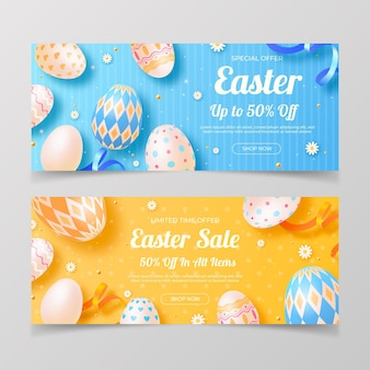 Realistic easter sale banners set