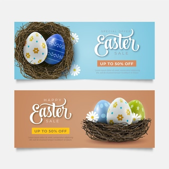 Realistic easter sale banners