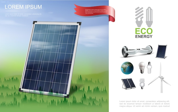 Realistic eco energy modern composition with solar panel on forest gyroscope earth planet lightbulbs windmill illustration