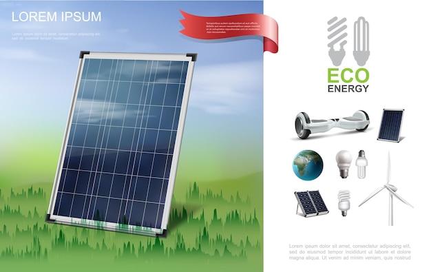 Реалистичная эко-энергия современная композиция с солнечной панелью на лесном гироскопе, планете земля, лампочки, ветряная мельница, иллюстрация