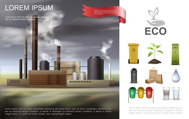 Realistic ecological environmental composition with industrial factory recycling garbage cans paper bags
