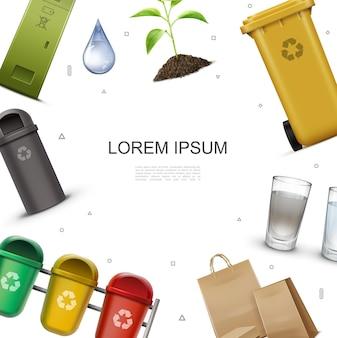 Реалистичный шаблон экологии и окружающей среды с красочными контейнерами для сортировки мусора, стаканами с водой и иллюстрацией бумажных пакетов