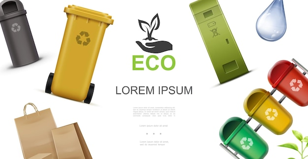 Concetto variopinto di ecologia realistica con contenitori di plastica per il riciclaggio della goccia di acqua dell'immondizia e dell'illustrazione dei sacchetti di carta