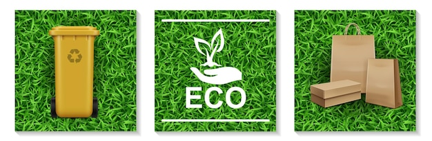 Realistic ecology and nature elements set with plastic bin for garbage recycling hand holding plant logo