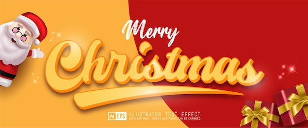 Realistic editable text effect merry christmas on red and yellow background