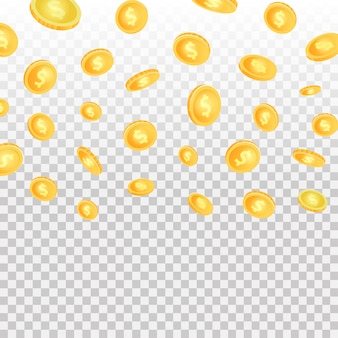 Realistic effect with falling coins on the transparent background.