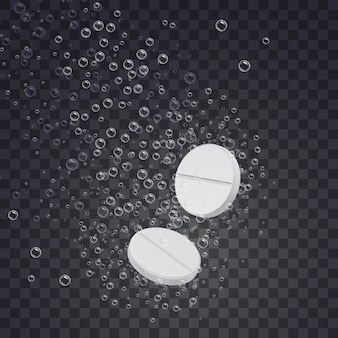 Realistic effervescent soluble tablets in water