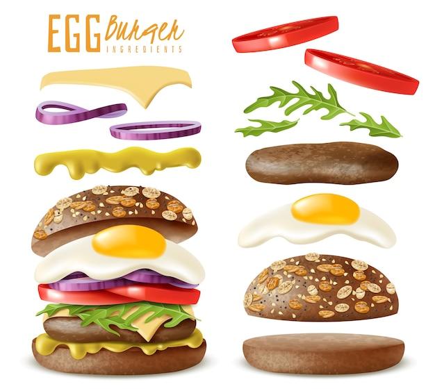 リアルなエッグバーガー要素セット