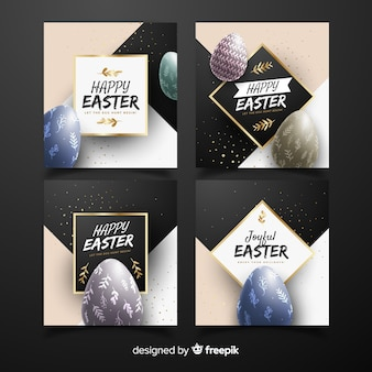 Realistic eggs easter card collection