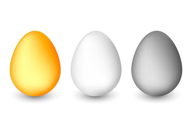 白い背景に分離された現実的な卵。