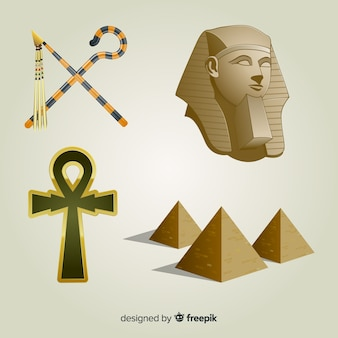 Realistic egyptian symbols and gods collection