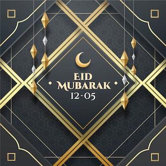 Realistic eid al-fitr - eid mubarak illustration