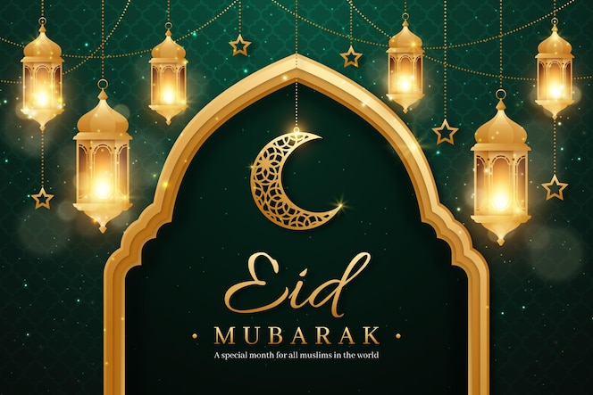 Realistic eid mubarak background with candles and moon