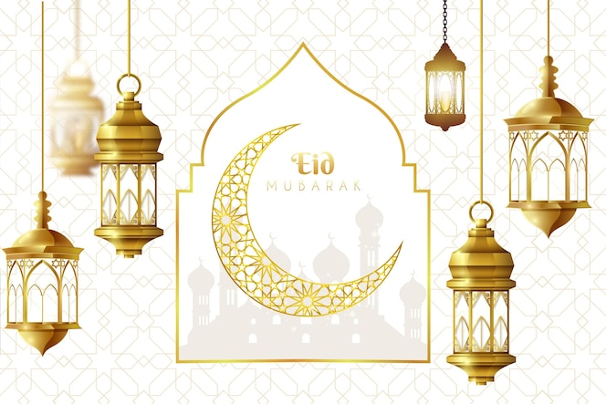 Realistic eid mubarak background with moon and lanterns