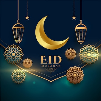 Realistic eid mubarak festival decorative greeting card