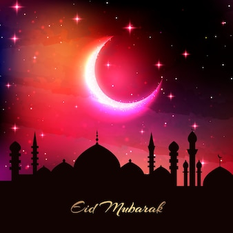Realistic eid mubarak silhouette of mosque and moon