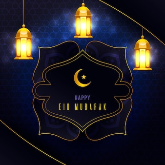 Realistic eid mubarak with lanterns