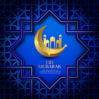 Realistic eid mubarak with mosque and moon