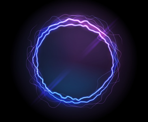 Realistic electric circle or abstract plasma round