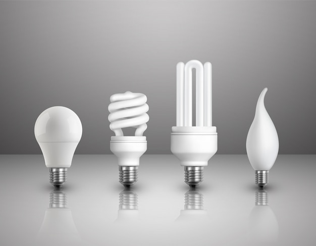 Realistic electric lightbulbs set