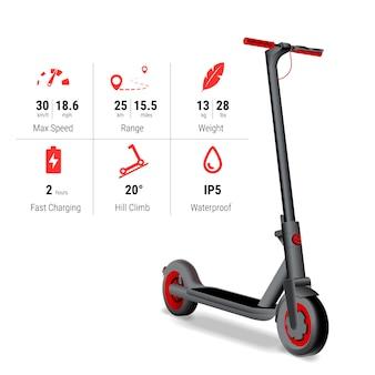 Реалистичные электрический скутер со спецификацией и значками. концепция производительности kick скутер.