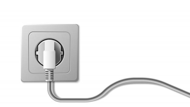 Реалистичная электрическая розетка и вилка на белом фоне