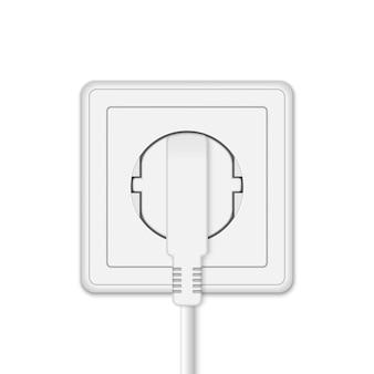 Реалистичная электрическая розетка на белой стене