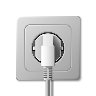 Realistic electric socket and plug on white background