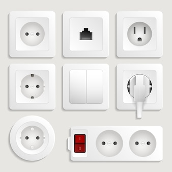 Realistic electric wall outlet set