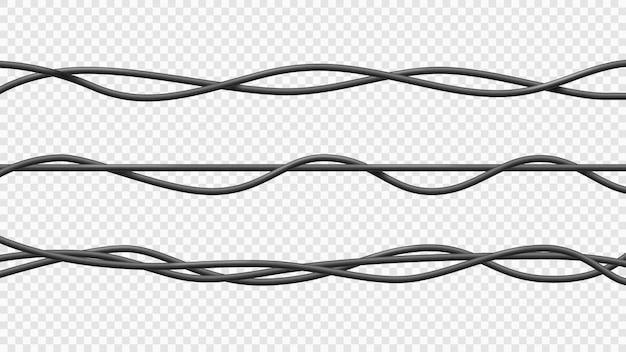 Реалистичные электрический кабель гибкие изолированные электрические медные провода вектор