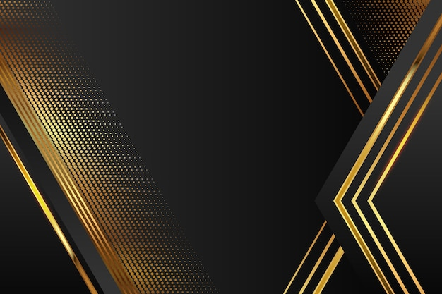 Realistic elegant geometric shapes background in golden and black