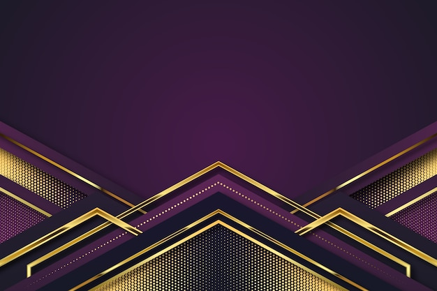 Realistic elegant geometric shapes background in golden and violet