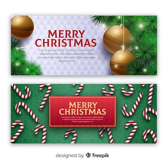 Realistic elements christmas banner template