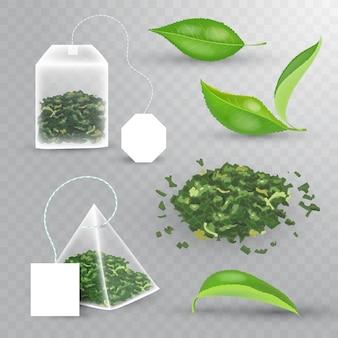 緑茶の現実的な要素セット。新鮮な葉、ピラミッド型のティーバッグ、長方形のティーバッグ、パイルブラックのドライティー。