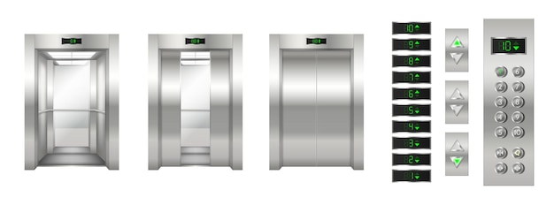 Realistic elevator set: open and closed chrome metal doors and button panel closeup. modern passenger or cargo elevator cabin. 3d vector illustration