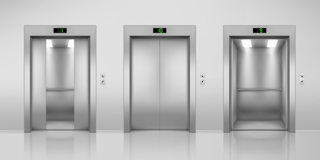 Realistic elevators with opened and closed halfopen doors steel lift in modern interior with