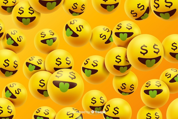 Realistic emoji characters with money