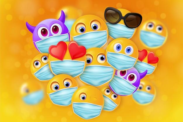 Реалистичные смайлики с фоном маски для лица