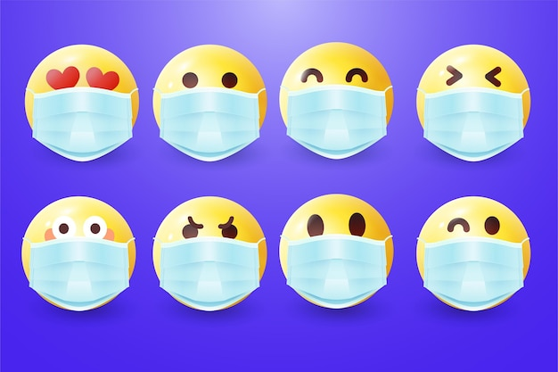 Realistic emoji with face masks