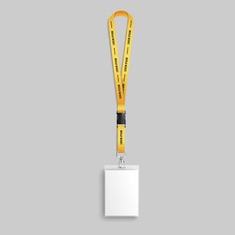 Realistic employee identification lanyard badge   illustration .