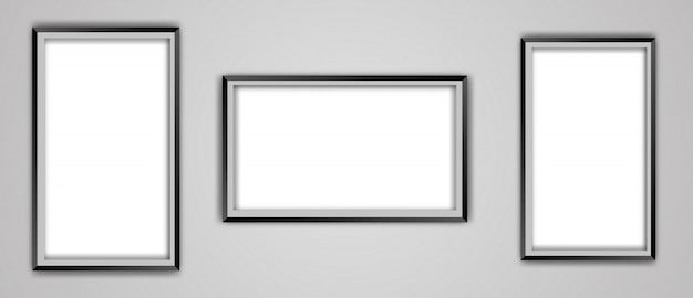 Realistic empty black picture frame mockup set isolated on a transparent background.