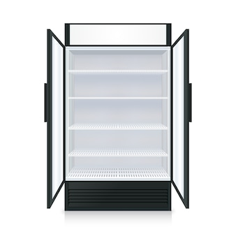 Realistic empty commercial fridge with shelves