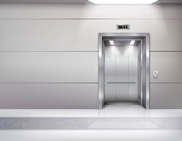 Realistic empty elevator hall interior