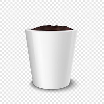 現実的な空の植木鉢のクローズアップは、モックアップをブランド化するための分離されたデザインテンプレートを分離しました