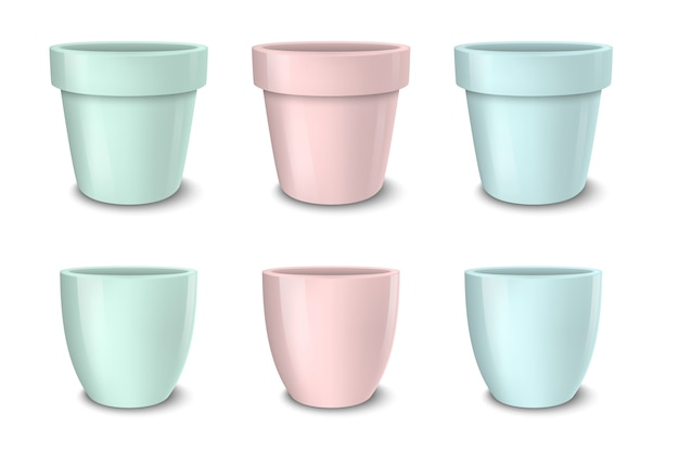 Realistic  empty flower pot set, pastel colors - pink, green and blue. closeup isolated on white background. . .