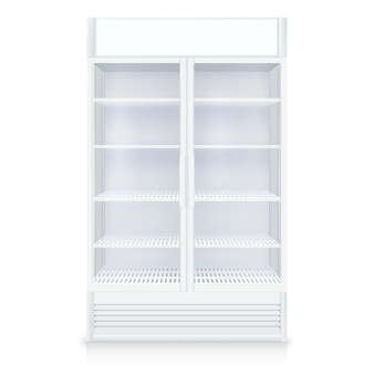 Realistic empty freezer with transparent door and shelves in white colors